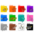 basic colors educational set with sea animals vector image