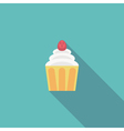 birthday cake flat icon with shadow vector image