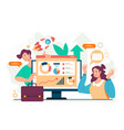 business analytics teamwork statistic vector image vector image
