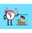 Cartoon deadline clock character with businessman vector image vector image