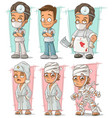 cartoon doctor and patient character set vector image vector image