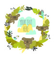 cartoon wreath with koalas and plants on white vector image vector image