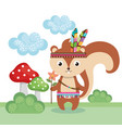 chipmunk woodland animal with feather crown vector image vector image