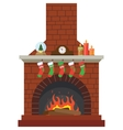 Christmas stockings by the fireplace vector image