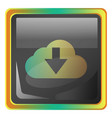 cloud download grey square icon with yellow and vector image
