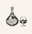 cognac bottle and glass goblet engraved hand vector image vector image