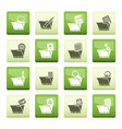 computer and phone icons over color background vector image vector image