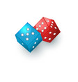 couple of red and blue dices gambling devices vector image