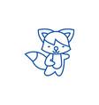 cute fox line icon concept cute fox flat vector image vector image