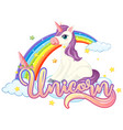 cute unicorn with unicorn sign vector image