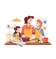 daughters helping mother to cook food in kitchen vector image
