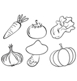 Doodle designs of different vegetables vector image