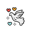 dove peace love bird pigeon pacifism flat vector image