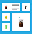 flat icon soda set of cup fizzy drink bottle and vector image