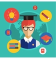 Flat student for school vector image