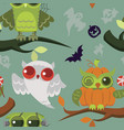 Halloween mystery owls seamless pattern