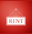 hanging sign with text rent icon on red background vector image vector image