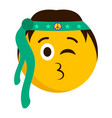 hippie emoji blowing a kiss vector image