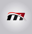 initial m letter logo with swoosh colored red and vector image vector image