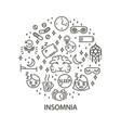 insomnia line art banner vector image vector image