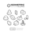 Isometric outline icons set 4 vector image vector image