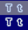 letter t on grey and blue background vector image
