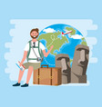 man sitting in baggage with backpack and vector image vector image