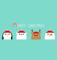 merry christmas white polar bear snowman raindeer vector image