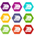 motorcycle helmet racing icons set 9 vector image vector image