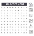 office editable line icons 100 set vector image vector image