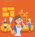 people talking call home cleaning service vector image vector image
