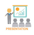 presentation business man showing flip chart vector image