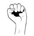 raised fist in black and white vector image vector image