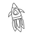 rocket flying drawing icon vector image