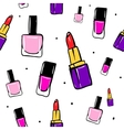 seamless pattern with lipstick nail polish vector image vector image