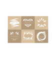set 6 original monochrome emblems with leaves vector image vector image