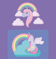 set cute unicorns with rainbow of fairy tale vector image