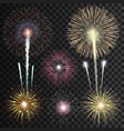 set isolated realistic fireworks vector image vector image