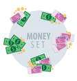 Set of bunches of money vector image vector image
