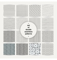 Set of simple doodle seamless patterns