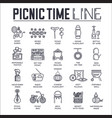 set picnic time barbeque thin line icons vector image