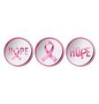 set pink ribbons symbols for breast vector image vector image