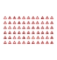 set triangular road signs isolated on white vector image