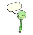 spooky cartoon sull and spine with speech bubble vector image vector image