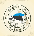 Stamp with map flag of Estonia vector image vector image