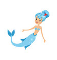 swimming mermaid girl with happy face expression vector image vector image