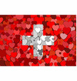 switzerland flag made of hearts background vector image