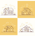 town buildings - set of thin line design style vector image