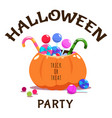 trick or treat halloween banner with pumpkin vector image vector image