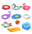 various rubber equipment for water park vector image